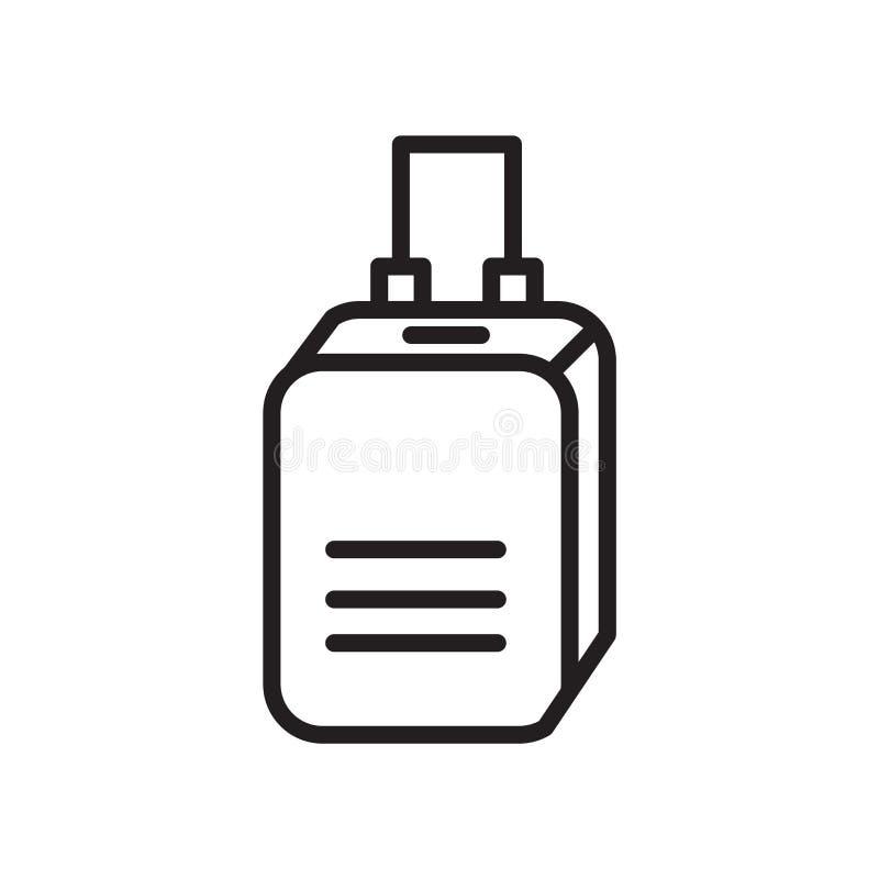 Kofferikonenvektor lokalisiert auf weißem Hintergrund, Kofferzeichen, linearem Symbol und Anschlaggestaltungselementen in der Ent stock abbildung