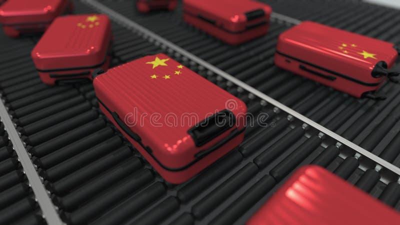Koffers die vlag van de beweging van China op de transportband in een luchthaven kenmerken Het Chinese toerisme bracht het 3D ter stock illustratie