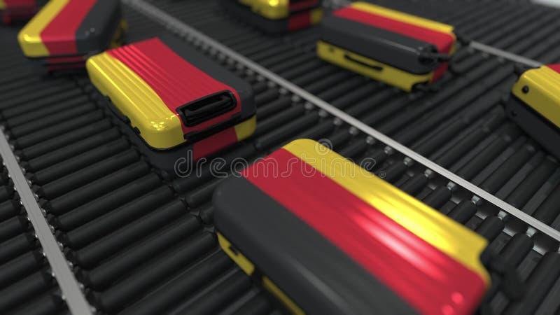 Koffers die vlag van de beweging van Duitsland op de transportband in een luchthaven kenmerken Het Duitse toerisme bracht het 3D  vector illustratie