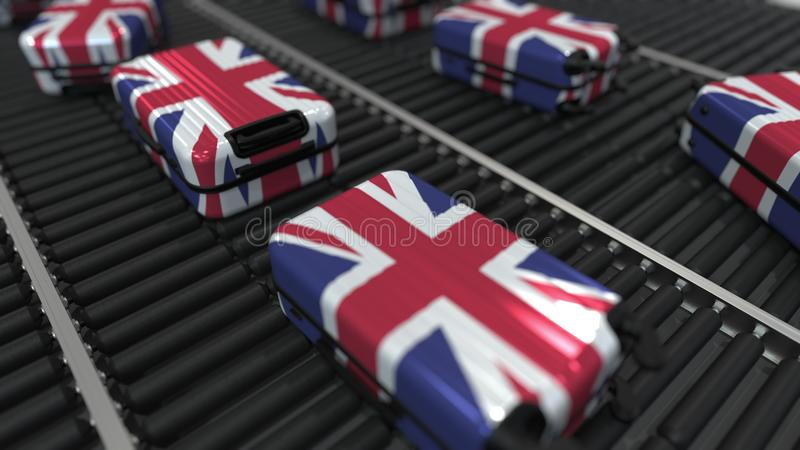 Koffers die vlag van de beweging van het Verenigd Koninkrijk op de transportband in een luchthaven kenmerken Het Britse toerisme  stock illustratie