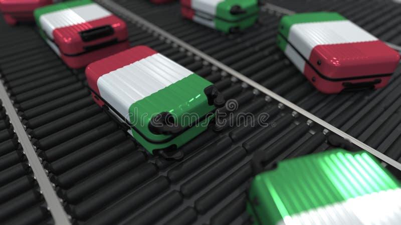 Koffers die vlag van de beweging van Itali? op de transportband in een luchthaven kenmerken Het Italiaanse toerisme bracht het 3D royalty-vrije illustratie