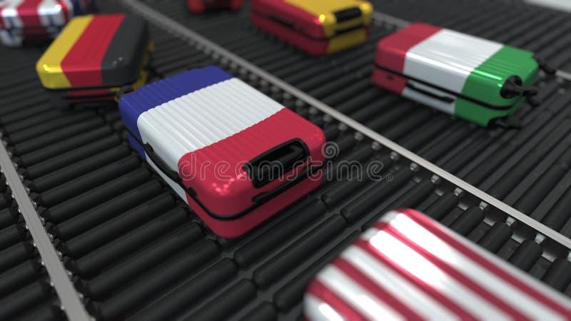 Koffers met verschillende de vlaggenbeweging van de staat op de transportband in een luchthaven Het internationale toerisme brach stock illustratie