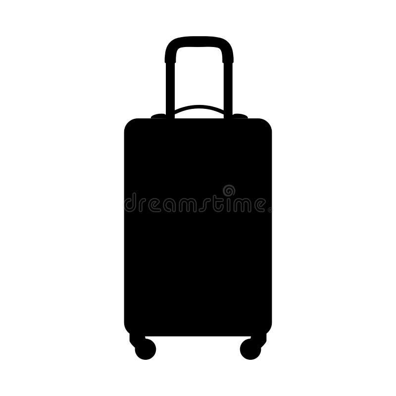 Koffersilhouet, op witte achtergrond Het pictogram van toestellen stock illustratie