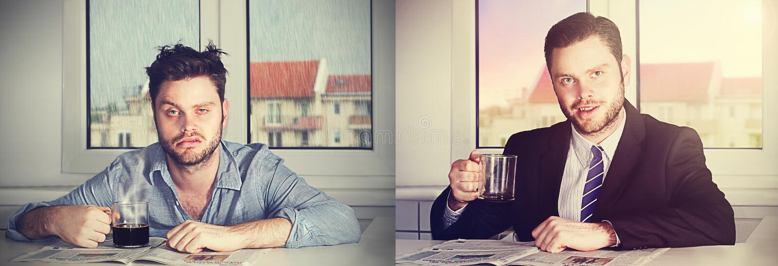 Before and after koffie stock afbeelding