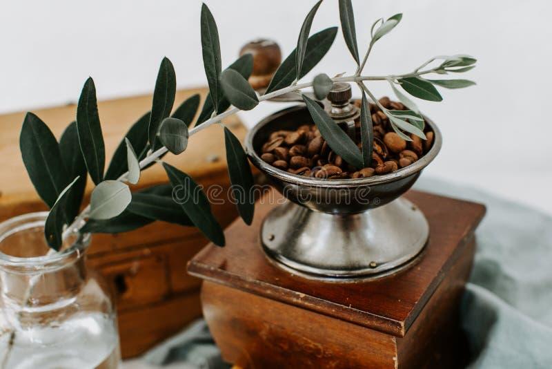 Koffie beens in oude koffiemolen stock foto