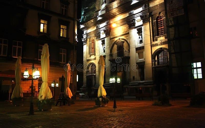 Koffie bij nacht Lvivstad royalty-vrije stock foto