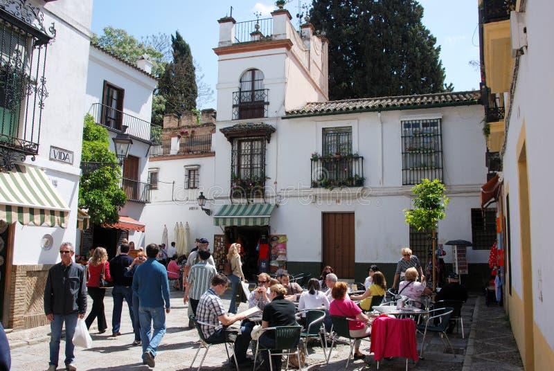 Koffie in de oude stad, Sevilla stock afbeelding