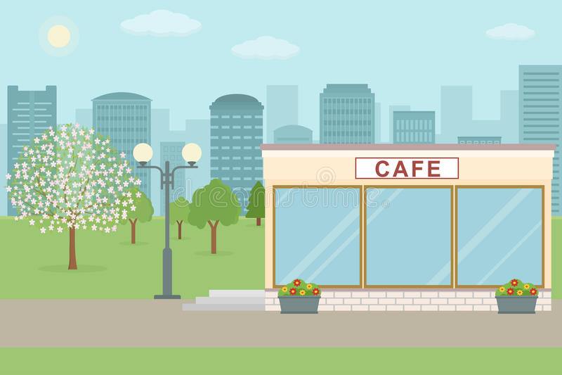 Koffie die op stadsachtergrond voortbouwen stock illustratie