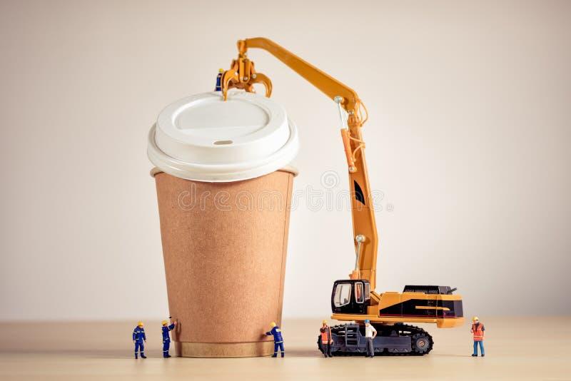 Koffie die team maken Grote details! stock foto