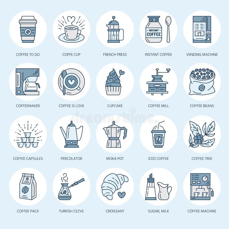 Koffie die tot materiaal maken vectorlijnpictogrammen Hulpmiddelen - mokapot, Franse pers, koffiemolen, espresso, verkoop, instal vector illustratie