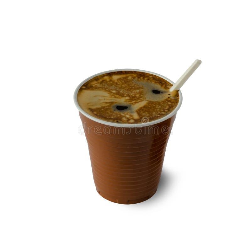 Koffie in een plastic Kop stock foto