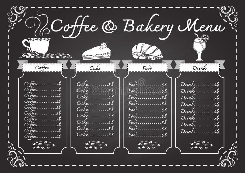 Koffie en bakkerijmenu op bordmalplaatje vector illustratie