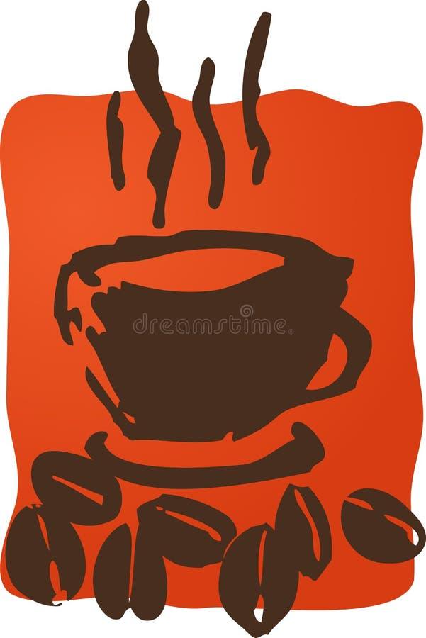 Koffie en bonen royalty-vrije illustratie