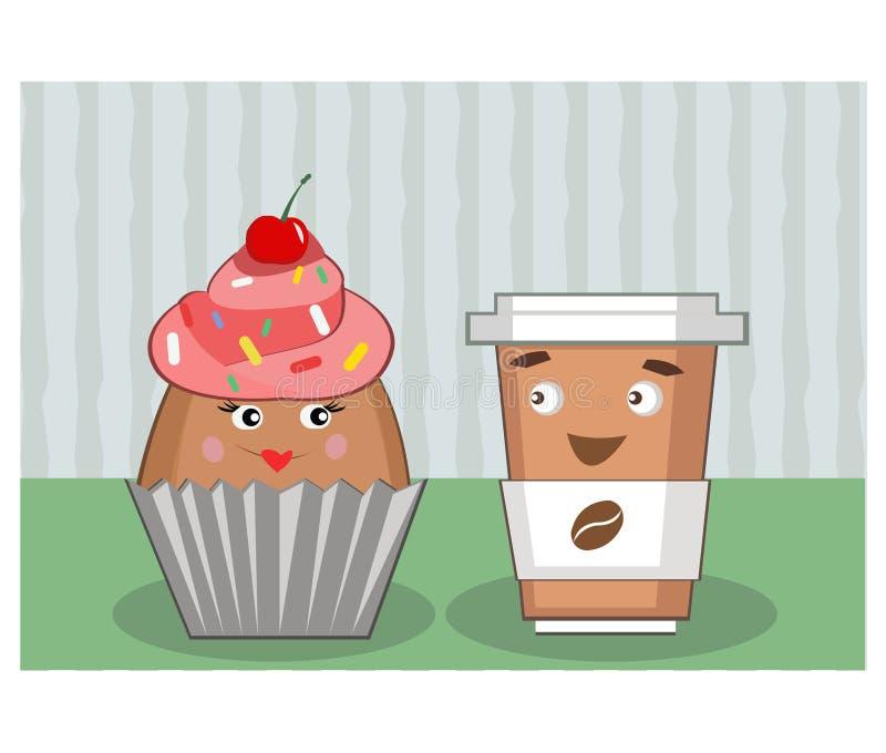 Koffie en cake met de ogen royalty-vrije stock fotografie