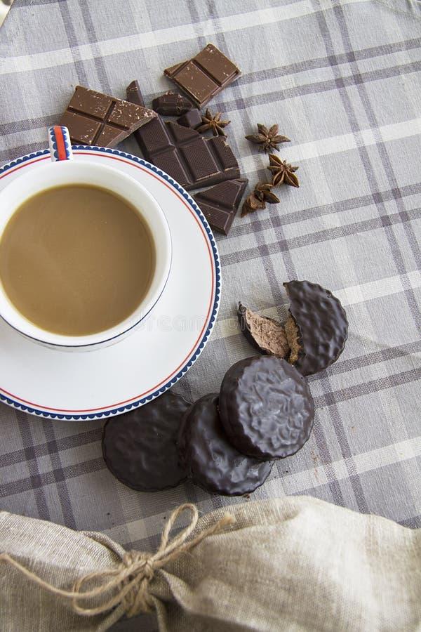 Koffie en chocoachtergrond 22 stock foto