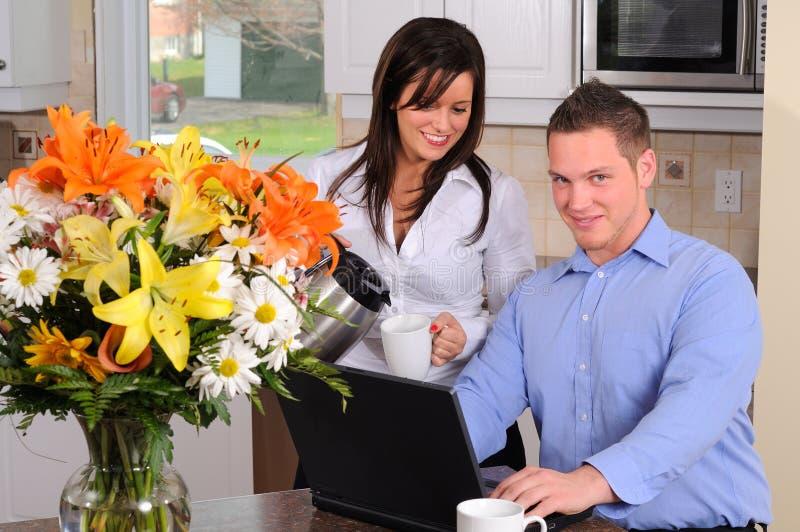 Koffie en Computer royalty-vrije stock afbeelding
