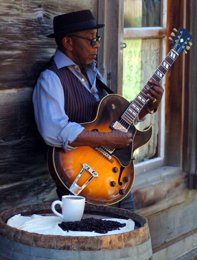 Koffie en de blauw royalty-vrije stock foto