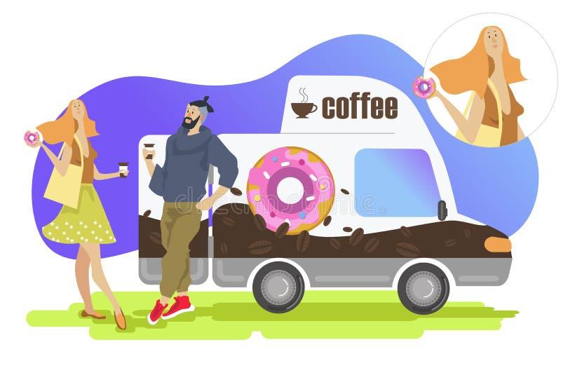 Koffie en Doughnut vector illustratie