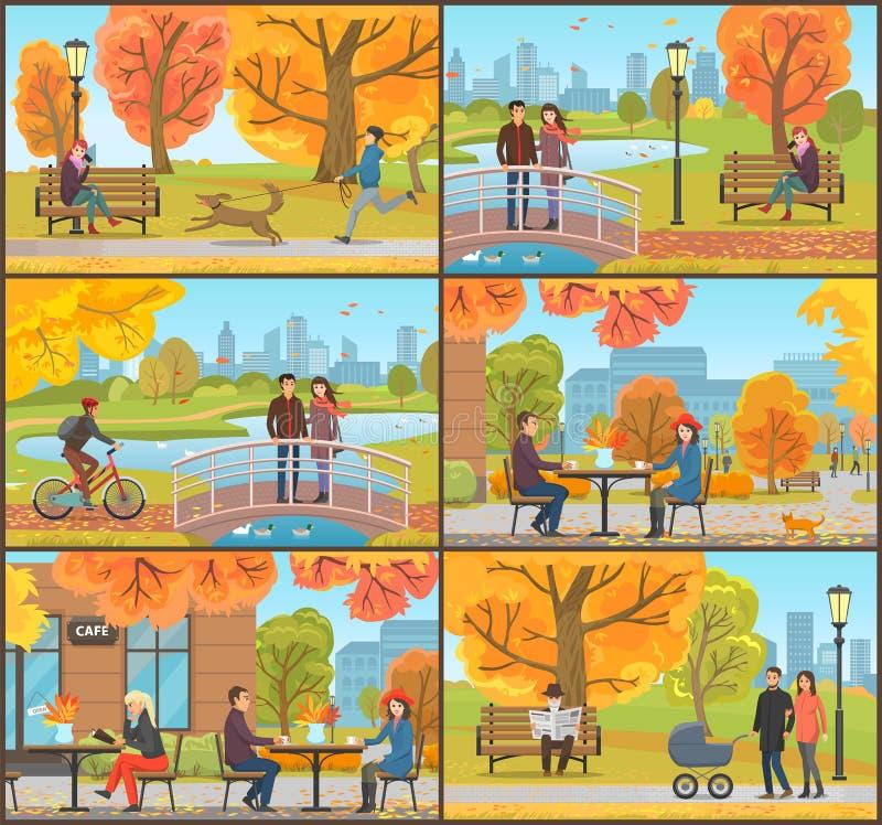 Koffie en Klanten Autumn Park People Set Vector royalty-vrije illustratie