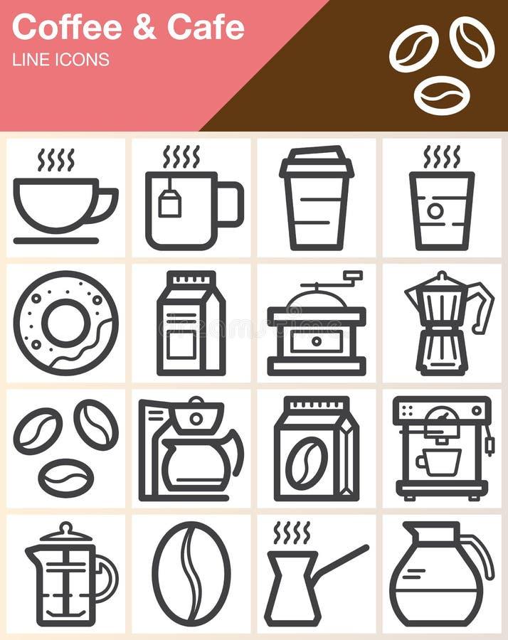 Koffie en Koffie geplaatste lijn de pictogrammen, schetsen vectorsymboolinzameling, het lineaire pak van het stijlpictogram vector illustratie