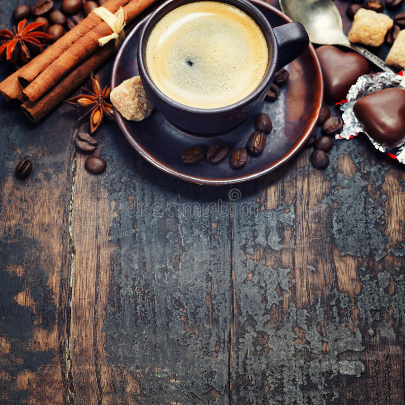 Koffie en kruiden royalty-vrije stock foto's