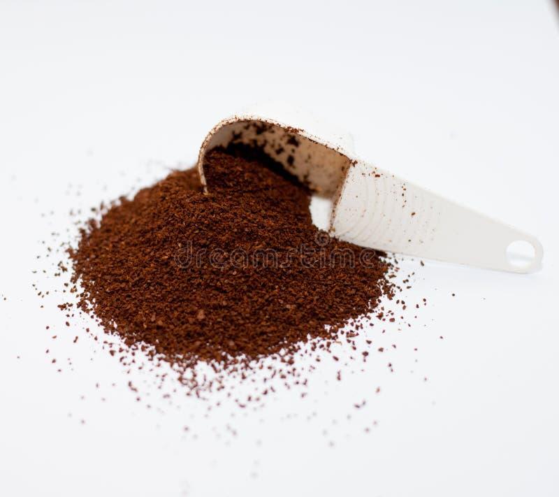 Koffie en lepel royalty-vrije stock foto