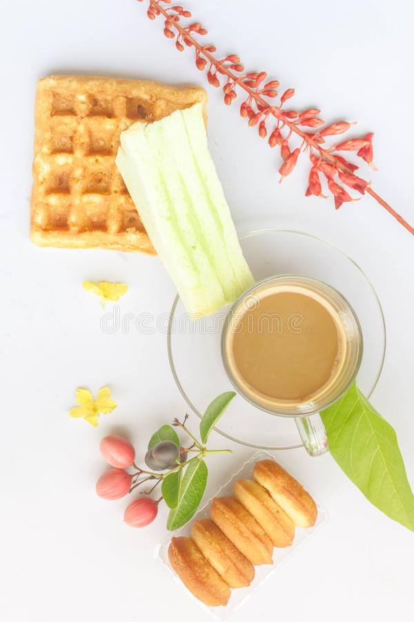 Koffie en Ontbijt stock foto