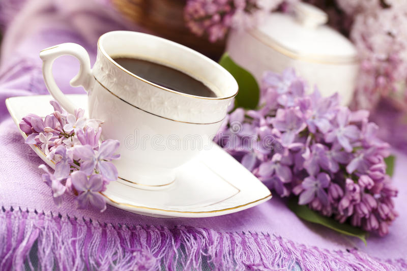 Koffie en sering royalty-vrije stock foto's