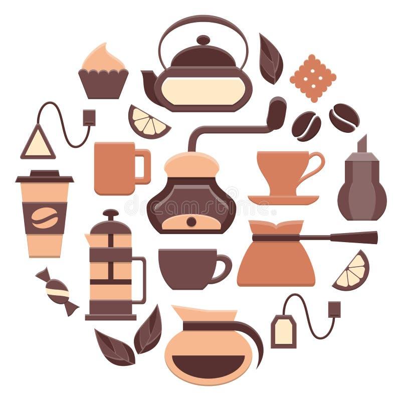 Koffie en thee geplaatste pictogrammen royalty-vrije illustratie