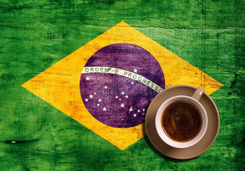 Koffie en vlag royalty-vrije stock fotografie