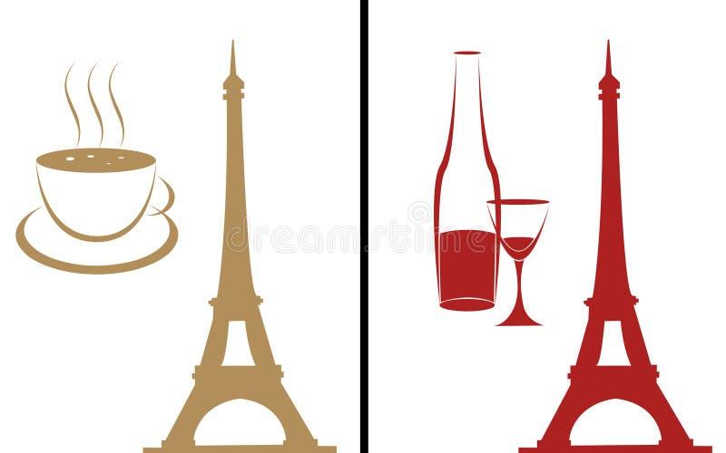Koffie en wijn royalty-vrije illustratie