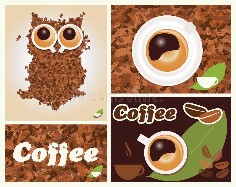 Koffie geïnspireerde illustraties, met uil, koffiebonen vector illustratie