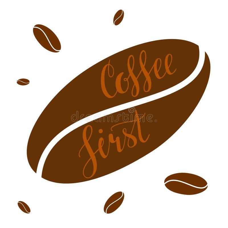 Koffie geschreven van letters voorziende illustratie uit de eerste hand vector illustratie