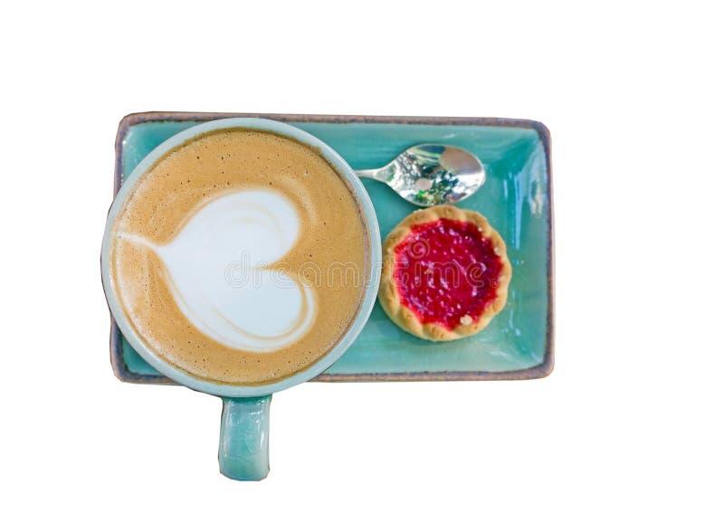 Download Koffie, Hartvorm Met Aardbeikoekje Stock Afbeelding - Afbeelding bestaande uit kleur, huis: 39101699