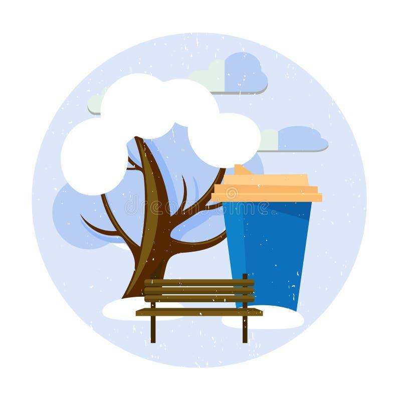 Koffie in het park in de cirkel royalty-vrije illustratie