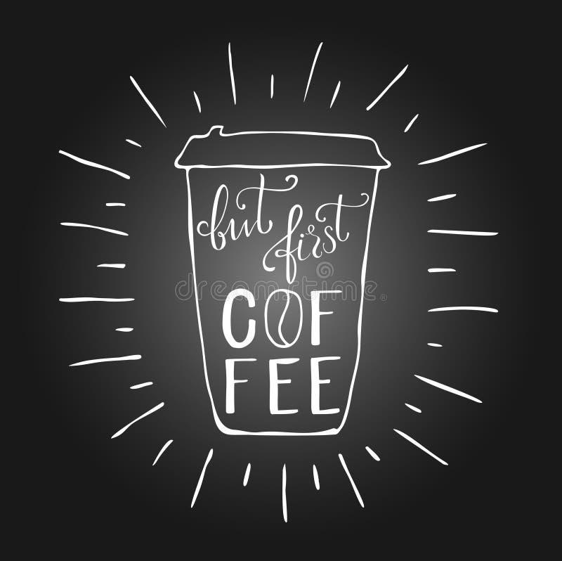 Koffie het van letters voorzien stock afbeelding