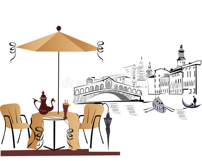 Koffie in Italië stock illustratie