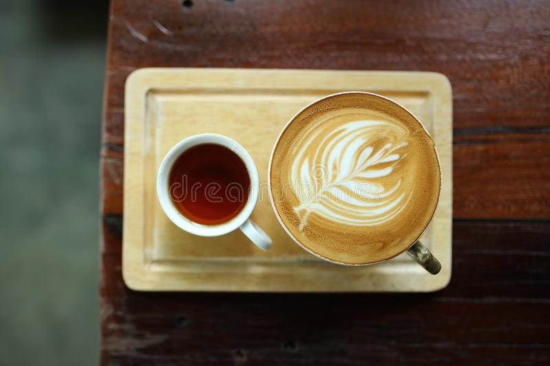 Koffie latte art. stock foto