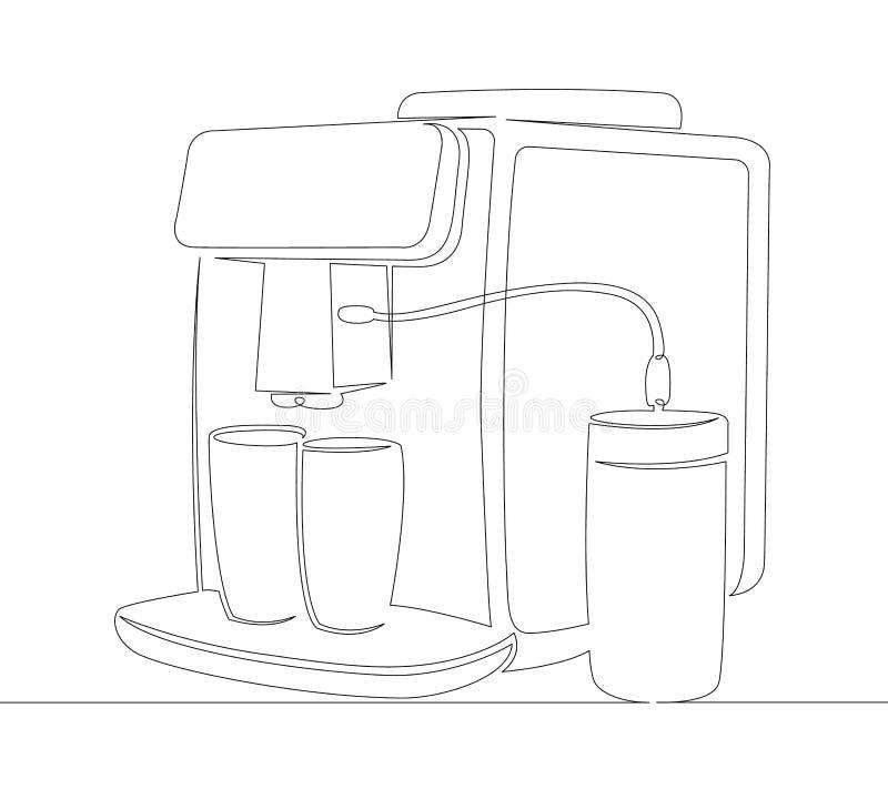 Koffie, machine, drank, kop, espresso, maker, cafeïne, koffie, drank, keuken royalty-vrije illustratie