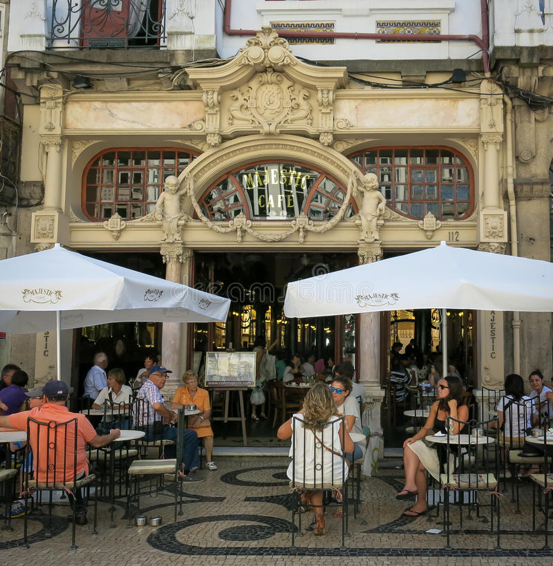 Koffie Majestueus in Porto stock afbeelding