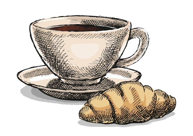 Koffie met croissant stock fotografie