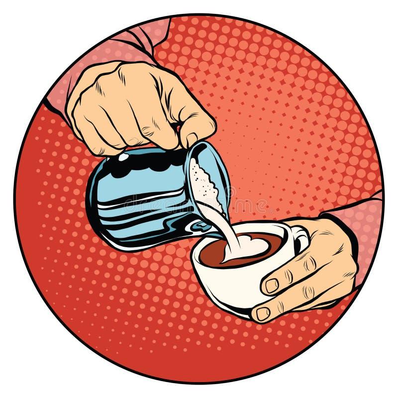 Koffie met hart-vormig wordt geregen die royalty-vrije illustratie
