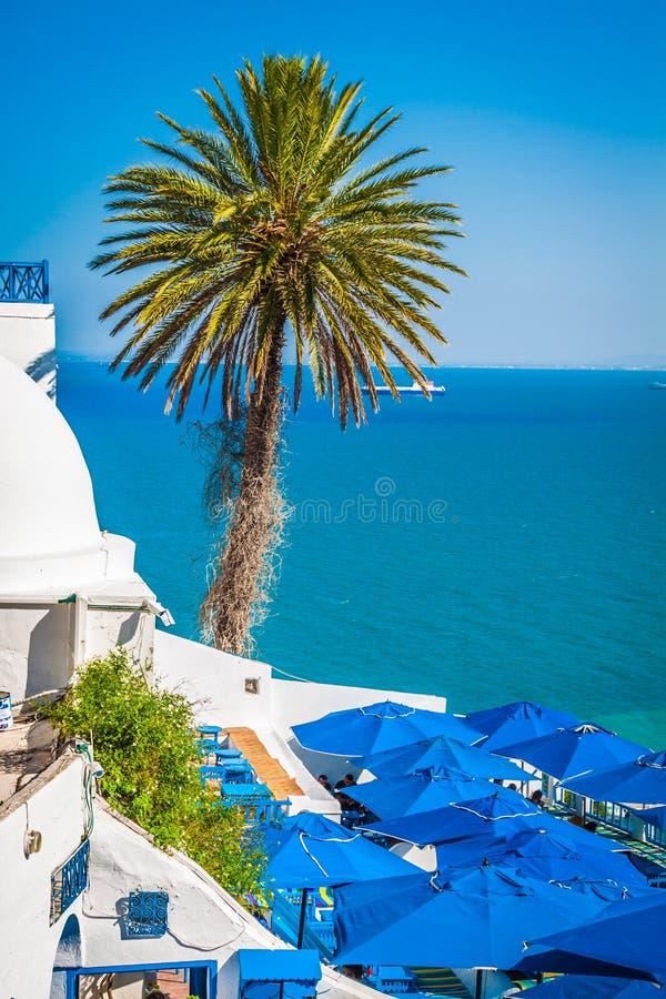 Koffie met mooie mening over de haven van Sidi Bou Said stock afbeelding