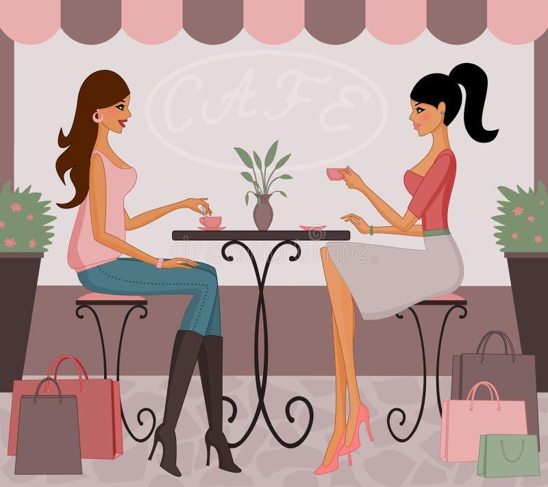 Koffie na het Winkelen royalty-vrije illustratie