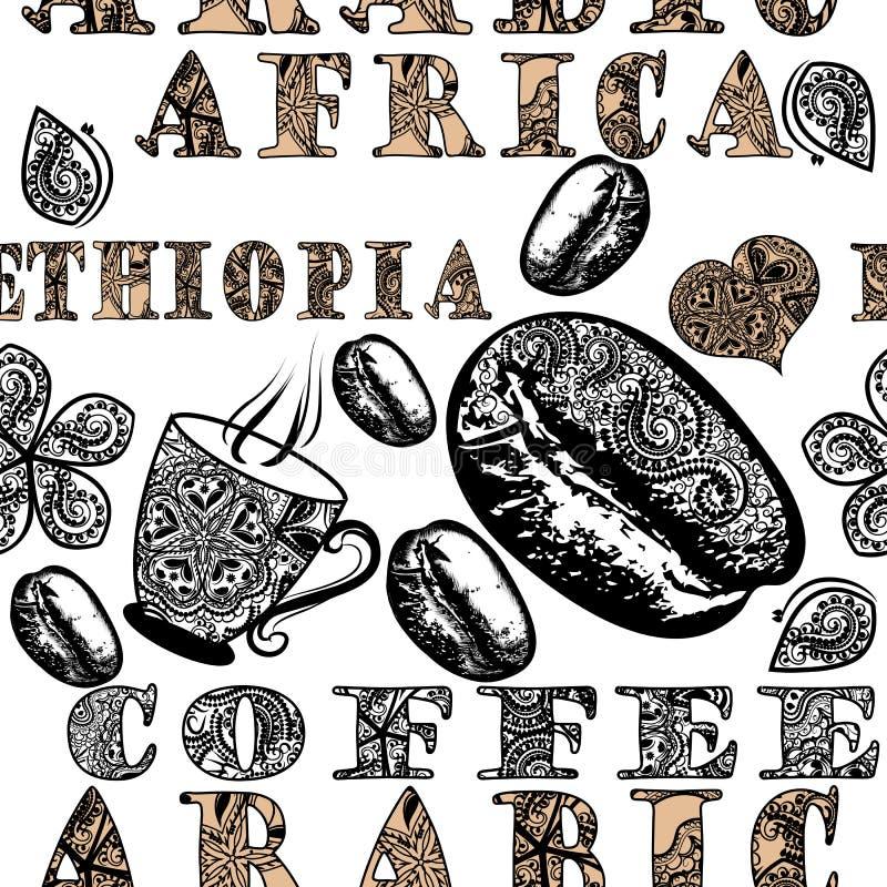 Koffie naadloos patroon met etnisch Afrikaans ornament, koffiegra stock illustratie