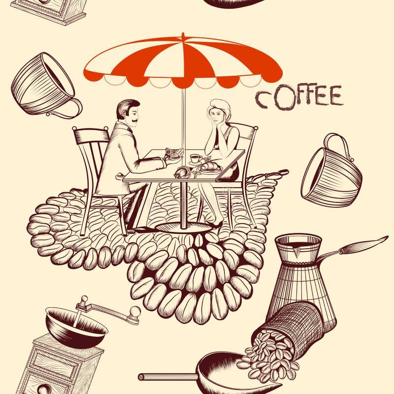 Koffie naadloos patroon met koffielijst, koffie en leuk paar stock illustratie