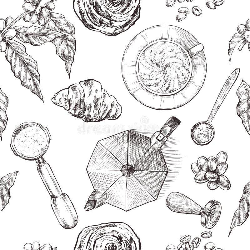 Koffie, naadloos patroon, uitstekende getrokken hand royalty-vrije illustratie