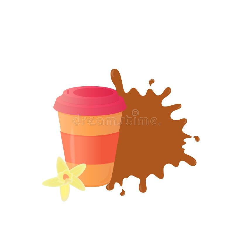 Koffie om te gaan Beschikbare document kop Vanillebloem stock illustratie