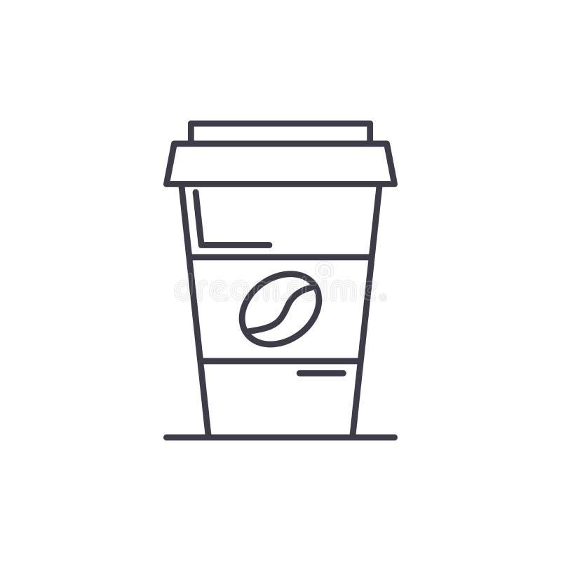 Koffie om te gaan het concept van het lijnpictogram Koffie om vector te gaan lineaire illustratie, symbool, teken vector illustratie