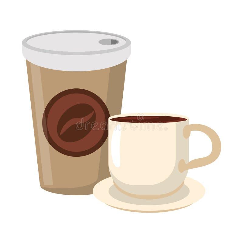 Koffie om te gaan kop en mok op schotel stock illustratie